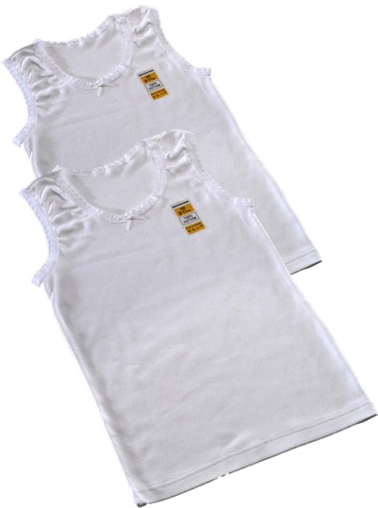 Girls 2 Pack Warm WHITE 100% Cotton Winter Vest Top Sizes 1-2 3-5 6-8 9-11 11-13 Years (9-11)