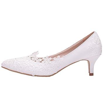 743e103fb67b54 Zhhlaixing Femmes Chaussures de Mariée à Talons Hauts en Dentelle Blanche  Élégant Escarpins Sandales - Chaussures