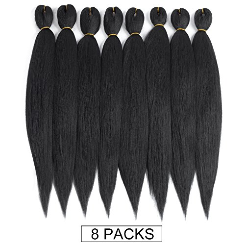 Pre-stretched Braiding Hair 8 Packs 22 Inch Professional Itch Free Low Temperature Synthetic Fiber Crochet Braids Crochet Hair Braiding Hair Extension Twist Braid (22 inches(8 packs), 1B#)