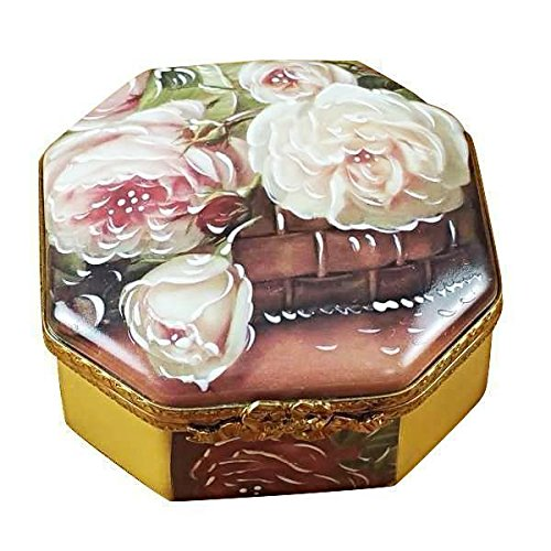OCTAGONAL WHITE ROSE BOX - MOTHER-GIRL - LIMOGES BOX AUTHENTIC PORCELAIN FIGURINE FROM FRANCE Rose Limoges Box