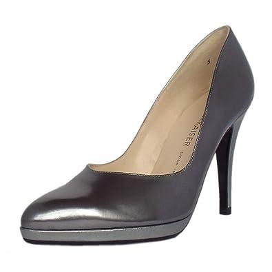9f74cdff4c82b0 Peter Kaiser Herdi Women s Stiletto Court Shoes in Silver Iron 2.5 Silver  Iron