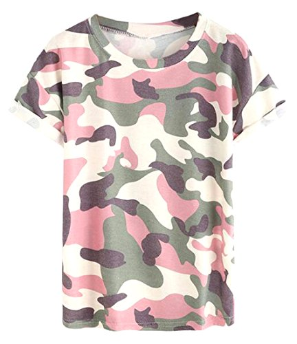 Zago-Womens-Summer-Camouflage-Crewneck-Short-Sleeve-Top-T-Shirt