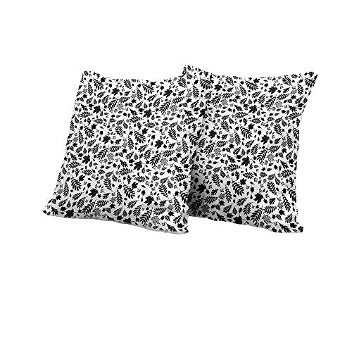 All of better Toddler Pillowcase Leaves,Autumn Season in The Woods Themed Monochrome Pattern Deciduous Trees Maple Oak,Black White Floral Pillow Covers 18x18 INCH ()