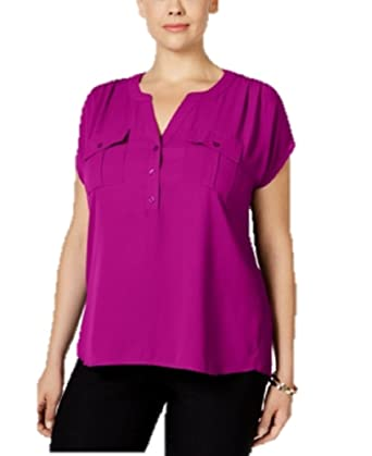 4af0e9f9066b0 INC International Concepts Plus Size Mixed-Media Utility Shirt in Magenta  Flame (3X)