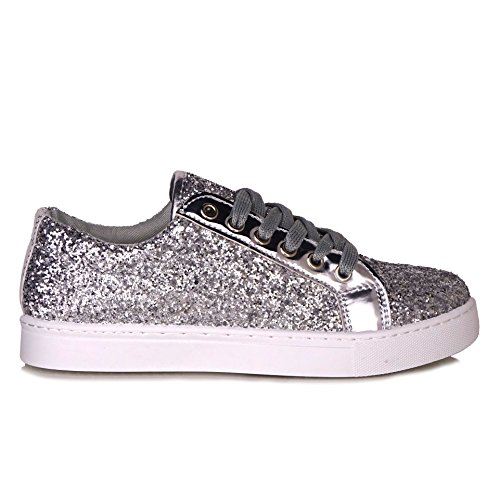 Pinkpoca Womens Ladies Lace up Glitter Sparkly Trainers Sneakers Pumps Fitness Shoes Size 3 to 8 Silver