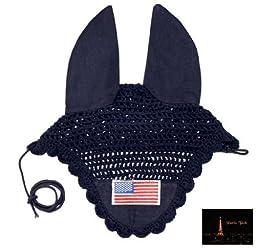 Paris Tack Patriotic Flag Crochet Ear Nets, Navy, Pony