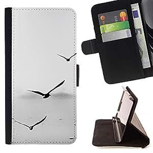 For Sony Xperia Z5 (5.2 Inch) / Xperia Z5 Dual (Not for Z5 Premium 5.5 Inch) Case , Gaviotas gris minimalista Sea Captain Birds- la tarjeta de Crédito Slots PU Funda de cuero Monedero caso cubierta de piel