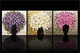 YEESAM Art New Paint by Numbers for Adults 3 Piece Pack Panel - Colorful Flower Clusters 16x16 inch Linen Canvas - DIY Painting Three Pieces Multipack Wall Art (with Frame)