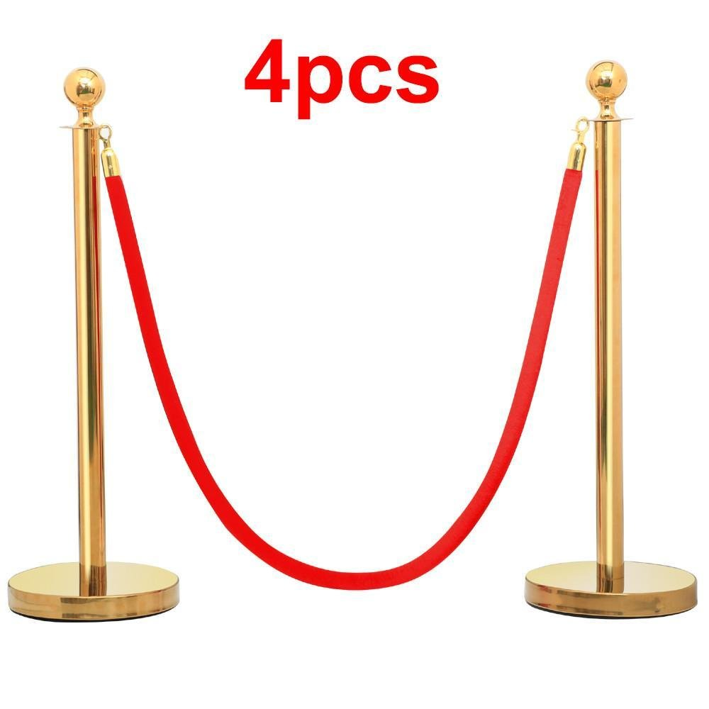 Yaheetech 8pcs Gold Round Top Stainless Steel Stanchion Crowd Control Barrier Posts w/6.5' Red Rope