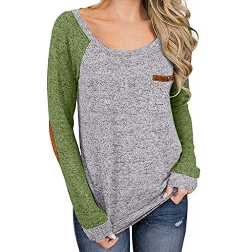 Sunhusing Women's Solid Color Long Sleeve Stitching Pocket Round Collar T-Shirt Loose Pullover Tunic Top Green