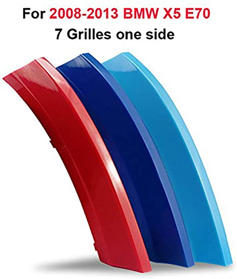 7 Grille For B M W X5 E70 2008-2013 3D Front Grille Strips Motor sports M Color Insert Trim Grill Cover Stickers Decoration