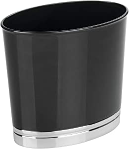 mDesign Oval Slim Decorative Plastic Small Trash Can Wastebasket, Garbage Container Bin for Bathrooms, Kitchens, Home Offices, Dorm Rooms - Black/Chrome