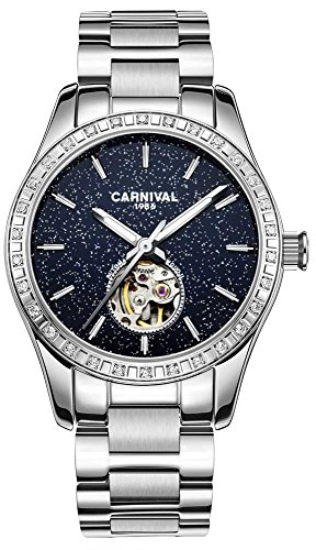 Women's Automatic Mechanical Female Watch Personality Sparkling Stars in The Blue Sky Skeleton Dial (Silver Blue) ()