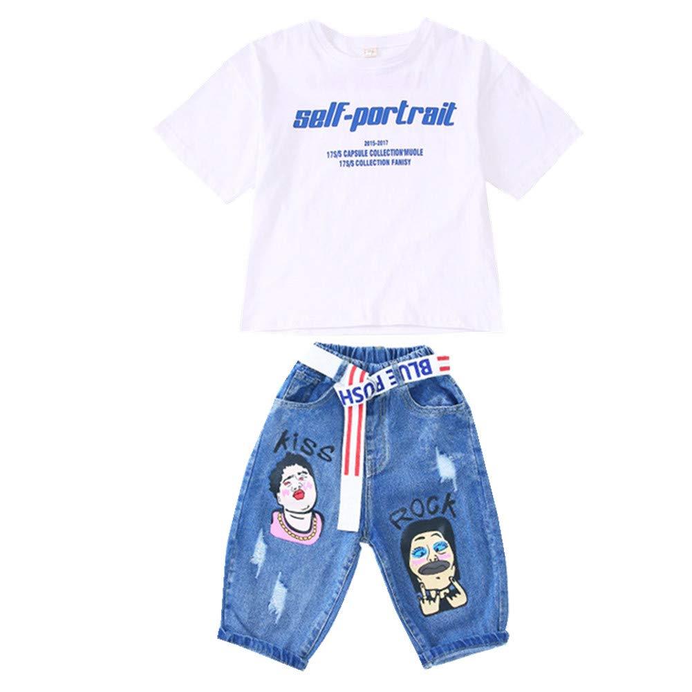 FTSUCQ Girls Cartoon Letter Printed Shirt Top + Middle Pants + Belt,130