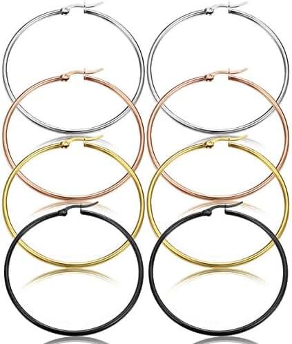ORAZIO 4 Pairs Stainless Steel Hoop Earrings Cute Huggie Earrings for Women, 40-60mm