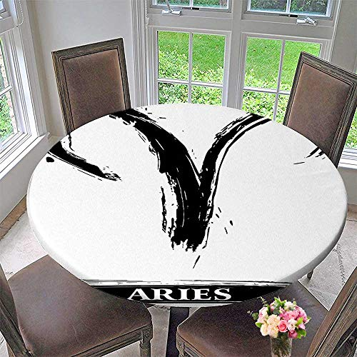 Mikihome Picnic Circle Table Cloths Aries Astrology Sign with Artsy Grunge Illustration Elements Character Venus White Black for Family Dinners or Gatherings 35.5
