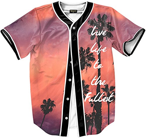 Button Down Jersey (Pizoff Short Sleeve Baseball Collar Arc Bottom 3D Sunset Print Buckle Jersey Tops Basketball Team Tee Dance T Shirt Baseball Coat Y1724-10-XL)