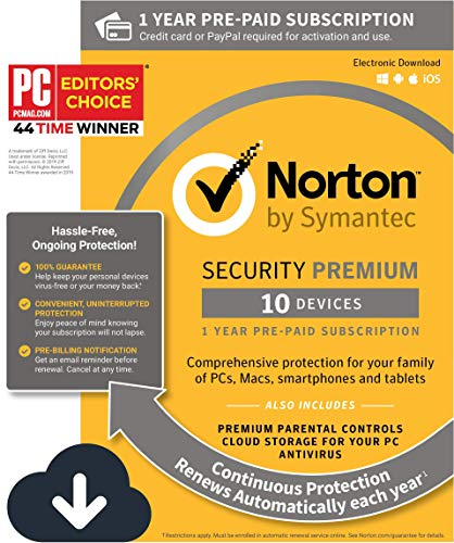 Norton Security Premium - Antivirus software for 10 Devices with Auto Renewal, Requires Payment Method - 1 Year Pre-Paid Subscription [PC/Mac/Mobile Download]