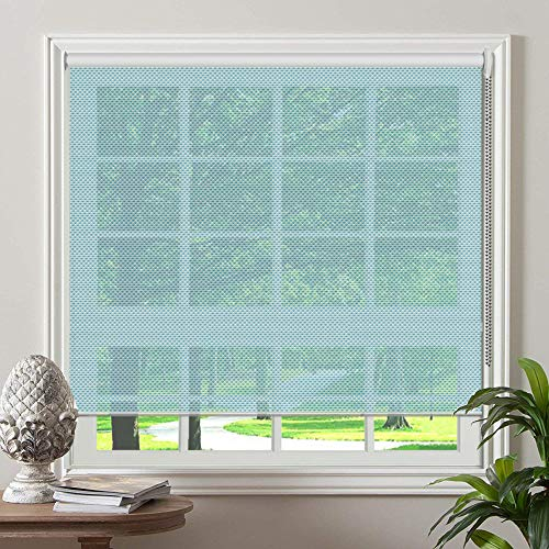 PASSENGER PIGEON Solar Window Shades, Premium Light Filtering UV Protection Flame Retardant Water Proof Custom Made Roller Shade,43' W x 44' L,Blue