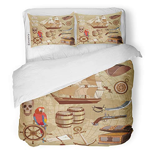 - Emvency Decor Duvet Cover Set King Size Old Pirate Treasure Map Chest Parrot Steering Wheel Skull Rum Saber Hat and Ship 3 Piece Brushed Microfiber Fabric Print Bedding Set Cover