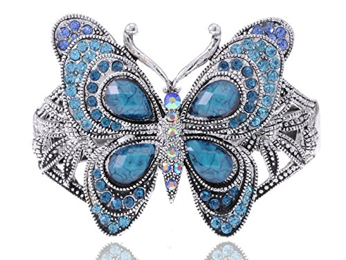 [Alilang Silvery Tone Iridescent Sapphire Colored Rhinestones Butterfly Cuff Bracelet] (Butterfly Costume Jewelry)