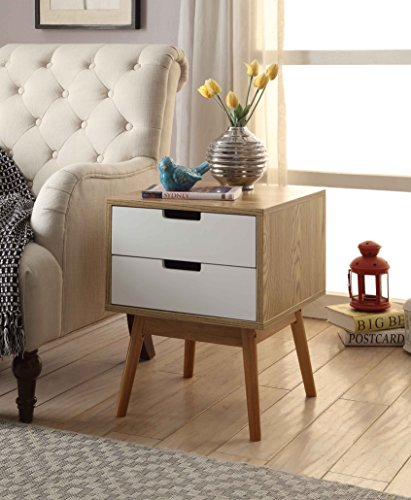 White / Ash Oak Finish Side End Table Nighstand with Two Drawer 20.5″H – Mid-Century ...