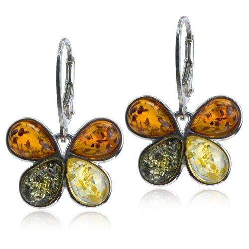 Sterling Silver Multicolor Amber Butterfly Leverback Earrings