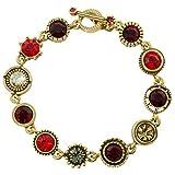 Patricia Locke Round Two Bracelet in Gold, Ravishing Red Color Story