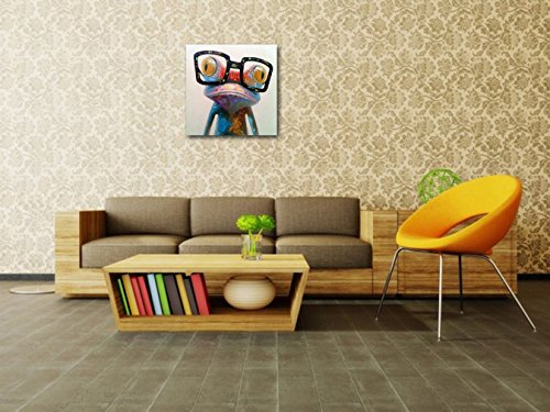 Muzagroo Art Oil Painting Hand Painted on Canvas Cute Frog with Glasses Pictures for Wall (16x16 Inch, Happy Frog)