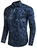COOFANDY Mens Floral Button Down Shirt Casual Long Sleeve Slim Fit Western Paisley Shirt