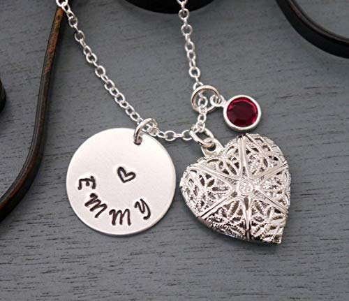 Girls Locket Necklace - Personalized Heart Locket Necklace - Name Necklace - Picture Locket - Silver - Locket Necklace - Locket Name Necklace - Custom - Birthstone - Girl Gifts - Unique