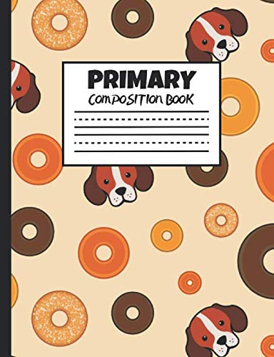 Primary Composition Book: Beagles and Bagels, 200 Pages, Handwriting Paper (7.44
