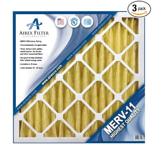 Actual Size: 15 ⅜ X 23 ⅜ X 1 /¾ 3 Pack 16x24x2 Pleated Air Filter MERV 8 Highest Quality