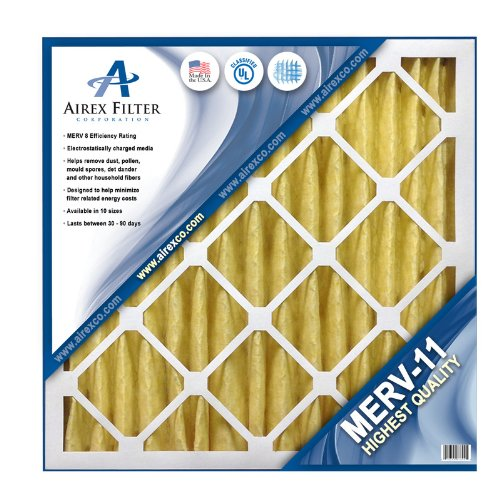 24x24x2 Pleated Air Filter MERV 11 - Highest Quality - 3 Pack - Actual Size: 23 ⅜ X 23 ⅜ X 1 ¾
