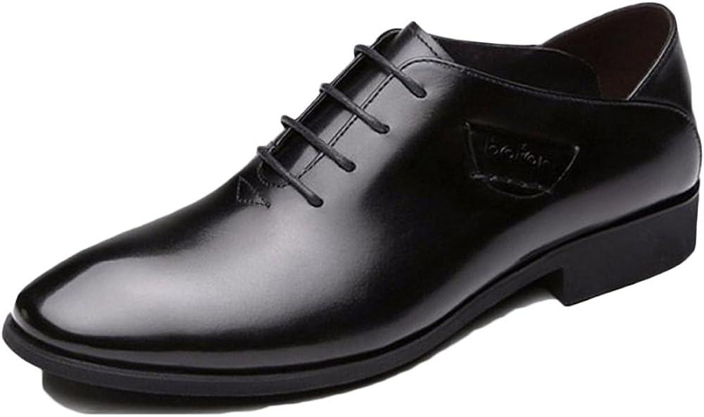 schwarz 43 EU nihiug Schwarze Lederschuhe F&uu ;r Mann Beleg auf Arbeit Lace-up Herren Business Kleid Schuhe Leder Atmungsaktiv