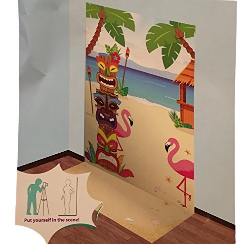 - Summer Party Fun Scenic Backdrop Scene Setter Decor - Parties Beach Theme Tiki Flamingo (Beach Theme Palm Tree Flamingo)