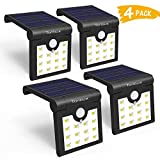 TONBUX Solar Lights Outdoor Wireless Waterproof Motion Sensor Lights 270 Degree Wide Angle LED Security Solar Light for for Step Stairs Yard Garden Garage Deck (4PACK)