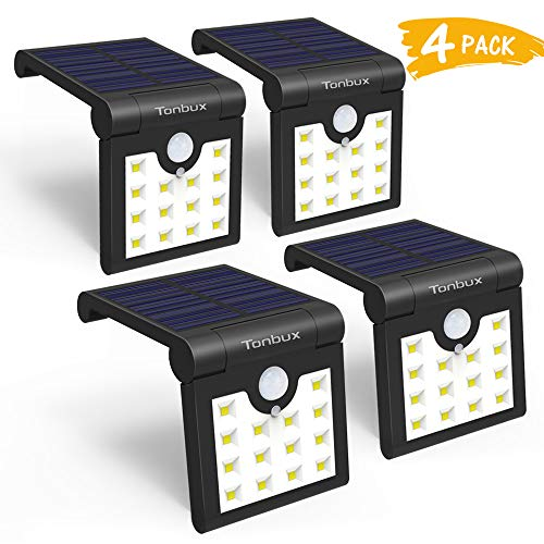 [UPGRADED 2019] Solar Lights Outdoor,TONBUX Waterproof Motion Sensor Light With 270°Wide Angle And Super Bright Wireless Security Wall Lighting Outside For Front Door, Backyard, Garage,Garden (4 PACK) ()
