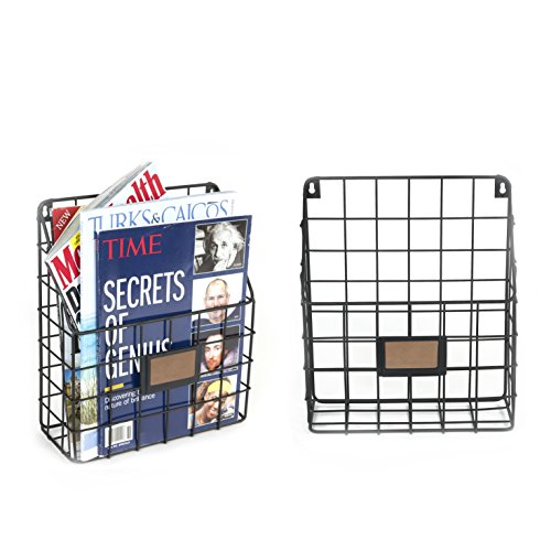 Wall35 Rivista Rustic Country Style Wire Wall Mount Hanging File Folders Display - Mail Organizer - Document Storage - Magazine Rack - Black Set of 2 by Wall35