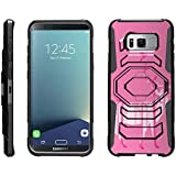TurtleArmor | Samsung Galaxy S8+ Case | S8 Plus Case | S8 Edge Case | G955 [Octo Guard] Dual Layer Hybrid Armor Hard Belt Clip Holster Impact Tough Kickstand Case Animal Design - Pink Deer Forest