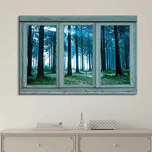 Vintage Teal Window Looking Out Into a Blue Foggy Forest