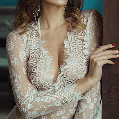 Lencería de Blanco Camisón de dormir para noche Vestido niñas para mujer hibote tentación sexy sexy Pijamas Perspectiva encaje Vestido de de OTrwxT7Rn