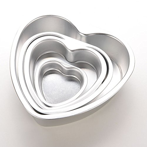 SQingYu Best Quality Standard Size Aluminium Alloy Heart Shaped Cake Pan Cake Biscuit Baking Mold Pan, 3 Inch