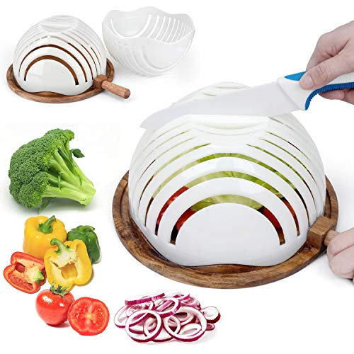 (ESEOE Salad Cutter Bowl, Family Size Wooden Base Upgraded Vegetable Cutter Bowl for Salad in 60 Seconds, Fast Fruit Vegetable Salad Chopper Bowl)