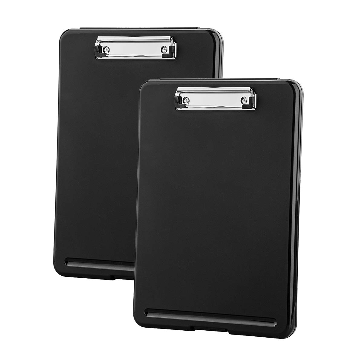 ZCZN Plastic A4 Form Storage Box Case, Black Clipboard Case, Suitable for School, Utility, Industrial Office, Medical Personnel, Set of 2 by ZCZN