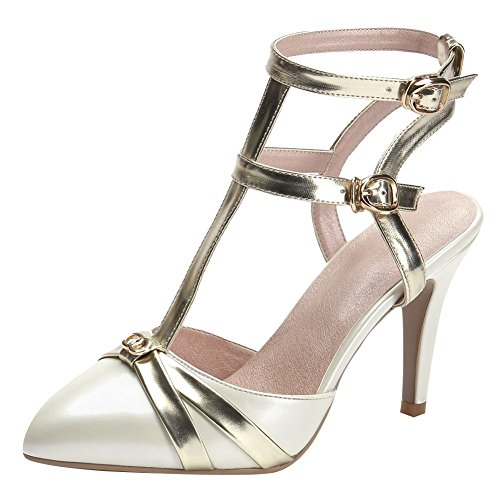 Carolbar Womens Pointed Toe Buckle Evenings T-Strap High Heel Dress Sandals Off-white