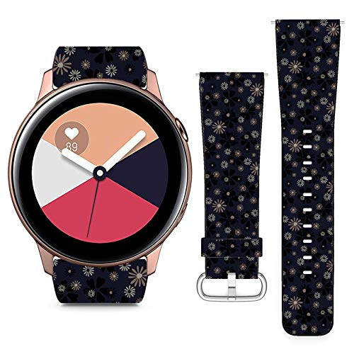 Compatible with Samsung Galaxy Watch Active // 20mm Leather Replacement Bracelet Strap Wristband with Quick Release Pins // Small Floral Cute Daisy