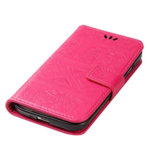 Ukayfe Flip funda de cuero PU para Samsung I9505 Galaxy S4, Leather Wallet Case Cover Skin Shell Carcasa Funda para Samsung I9505 Galaxy S4 con Pintado Patrón Diseño, Cubierta de la caja Funda protect Elefante-Rosa caliente