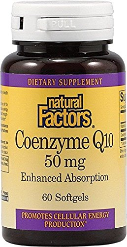 Natural Factors - Coenzyme Q10 50mg, Antioxidant Support with Enhanced Absorption, 60 Soft Gels