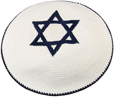Schwarzer Samt Davidstern Gestickter Kippa Yarmulke Jüdische Kippa Israel Kappe